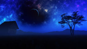 Meadow Night Sky With Milky Way Royalty Free Stock Photography
