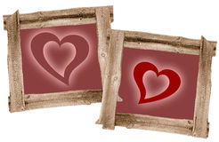 Meadow Old  frames  heart love,. Meadow Old  frames brown heart, love Royalty Free Stock Photography