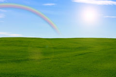 Meadow with rainbow Royalty Free Stock Photos
