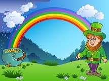 Meadow with rainbow and leprechaun. Illustration Royalty Free Stock Photography