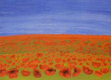 Meadow with red poppies, oil painting Stock Image