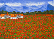Meadow with red poppies, oil painting Royalty Free Stock Photography