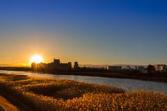 Meadow and river, sunset time. Stock Photo
