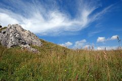 Meadow and rock, Low Fatra, Slovakia Stock Photo