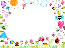 Meadow scribbles - child drawings background Stock Photo