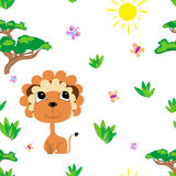 Meadow seamless pattern. Meadow with animals seamless pattern. Savannah background for kids. Print for children Stock Photos