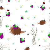 Meadow seamless pattern. Blackberry meadow with animals seamless pattern. Forest background for kids. Print for children Stock Images