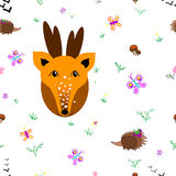 Meadow seamless pattern. Deer with animals seamless pattern. Forest background for kids. Print for children Royalty Free Stock Images