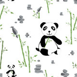 Meadow seamless pattern. Glade with panda bamboo and stones seamless pattern. Forest background for kids. Print for children Royalty Free Stock Photography