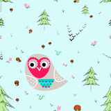 Meadow seamless pattern. Owl with animals seamless pattern. Forest background for kids. Print for children Royalty Free Stock Photos