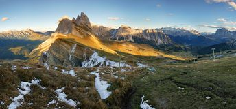 Meadow on Seceda plateau in Val Gardena, Italy, Europe Stock Photos