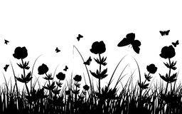 Meadow silhouettes. Vector grass silhouettes background. All objects are separated Royalty Free Stock Photography