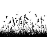 Meadow silhouettes. Vector grass silhouettes background. All objects are separated Stock Photo
