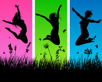 Meadow silhouettes. Vector people silhouettes on grass background. All objects are separated Royalty Free Stock Image