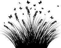 Meadow silhouettes. Vector grass silhouettes background. All objects are separated Royalty Free Illustration