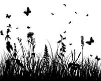 Meadow silhouettes royalty free stock image