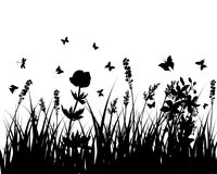 Meadow silhouettes royalty free stock photo