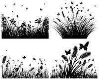 Meadow silhouettes. Vector grass silhouettes backgrounds set. All objects are separated royalty free illustration