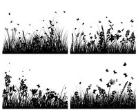 Meadow silhouettes. Vector grass silhouettes backgrounds set. All objects are separated stock illustration