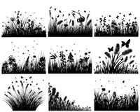 Meadow silhouettes. Vector grass silhouettes backgrounds set. All objects are separated vector illustration