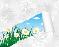 Meadow silhouettes with ripped stripe Stock Image