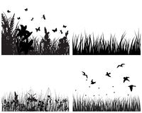 Meadow silhouettes set Royalty Free Stock Photos