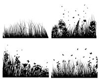 Meadow silhouettes set. Set of vector grass silhouettes backgrounds for design use stock illustration