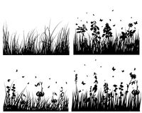 Meadow silhouettes set Royalty Free Stock Photo