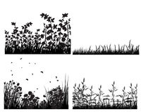 Meadow silhouettes set Stock Photos