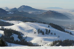 Pieniny Mountains. A frosty winter in mountains Royalty Free Stock Images
