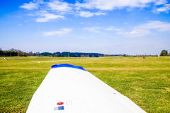 Meadow sports airfield landing strip. Royalty Free Stock Photos