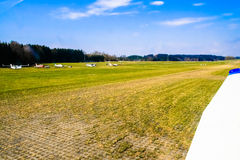 Meadow sports airfield landing strip. Royalty Free Stock Image