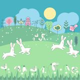 Meadow with spring flowers and funny rabbits Stock Images