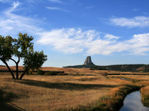 Meadow Stream in front of Devils Tower near Hulett and Sundance Wyoming near the Black Hills Royalty Free Stock Photography