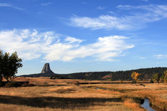 Meadow Stream in front of Devils Tower near Hulett and Sundance Wyoming near the Black Hills Royalty Free Stock Image