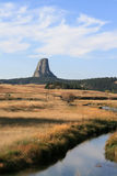 Meadow Stream in front of Devils Tower near Hulett and Sundance Wyoming near the Black Hills Stock Photography
