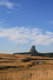 Meadow Stream in front of Devils Tower near Hulett and Sundance Wyoming near the Black Hills Stock Image
