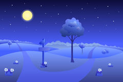 Meadow summer landscape night road waymark illustration Royalty Free Stock Photos