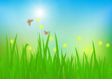 Meadow with sunlight, fresh green nature background. Vector illustration stock illustration