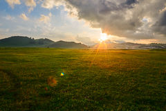 The meadow sunset. The photo was taken in Wulanbutong scenic spot of Hexigten national Geopark Chifeng city Nei Monggol Autonomous Region,China royalty free stock image