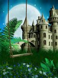 Meadow with a swing and fairy castle. Green meadow with an old wooden swing and fairy castle Royalty Free Stock Photo