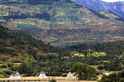 Meadow Teepees. 4 teepee's in meadow with fall colors and snow sprinkled mountains in the distance Royalty Free Stock Photos