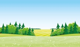 Meadow and trees. Beautiful summer landscape with meadow and trees Stock Images