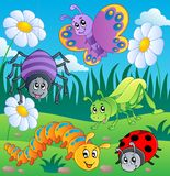 Meadow with various bugs theme 1 vector illustration
