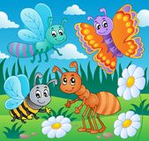 Meadow with various bugs theme 2. Vector illustration Stock Photo