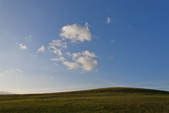 Meadow vs sky. Meadow and blue sky with clouds Stock Photography