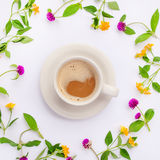 Meadow and wild flowers arranged in circle with coffe cup. Flat lay. Royalty Free Stock Images