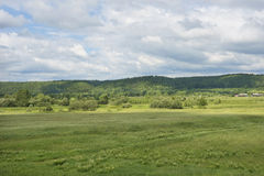 Meadow with wild herbs and village Royalty Free Stock Photos