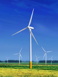 Meadow with Wind turbines l royalty free stock photography