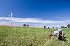 Meadow with windmills Stock Image